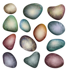 Colorful set of watercolor stones isolated vector
