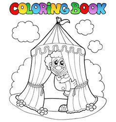 Coloring book with clown and tent vector