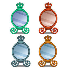 cosmetic mirror with crown decoration in cartoon vector image