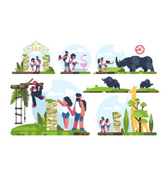 couple of guy and girl walking in zoo vector image