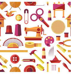 Craft tools and handmade instruments hobby items vector