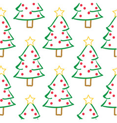 Cute hand drawn christmas trees seamless pattern vector