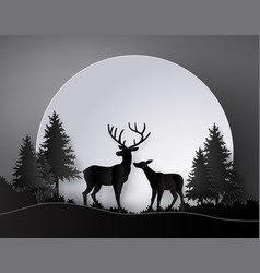 Deer in forest with deer in forest with full vector