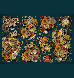 doodle cartoon set of tea and coffe vector image