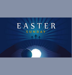 easter sunday he is risen tomb and crosses vector image