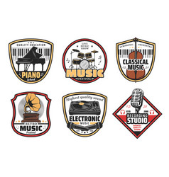 Electronic retro and classic music icons vector