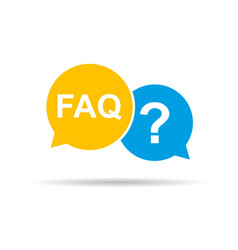 Faq sign in speech bubble with shadow vector