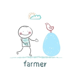 Farmer standing next to a huge chicken egg vector