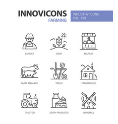 farming - modern colorful line design style icons vector image