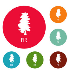 fir tree icons circle set vector image