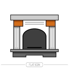 Flat color icon fireplace stove isolated on white vector image