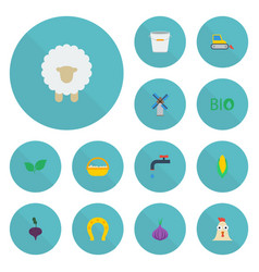 Flat icons ecology container talisman and other vector