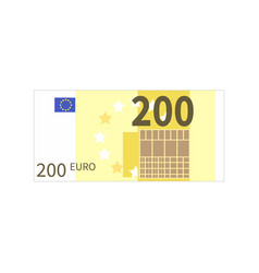 Flat simple two hundred euro banknote on white vector