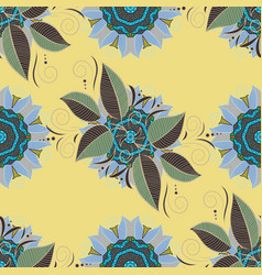Floral organic background cute leaves on yellow vector