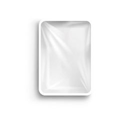 food plastic tray white container with cellophane vector image