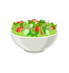 Fresh vegetable salad in gray ceramic bowl fresh vector