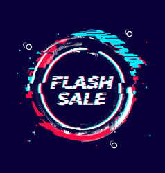 Glitch flash sale banner distorted circle shape vector