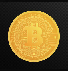 golden bitcoin coin crypto blockchain currency vector image
