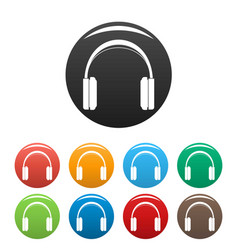 great headphones icons set color vector image