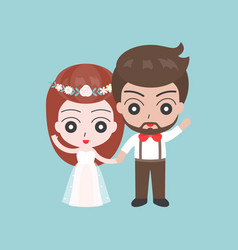groom and bride holding hand cute character vector image