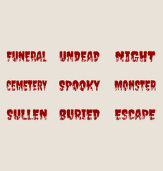 halloween relative words and silhouettes on them vector image