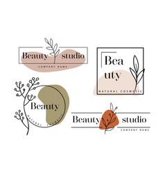 Hand drawn set logos template in elegant vector