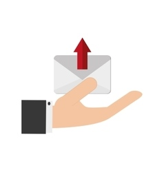 Hand holding message envelope and icon vector