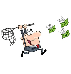 Happy Businessman Chasing Money vector image