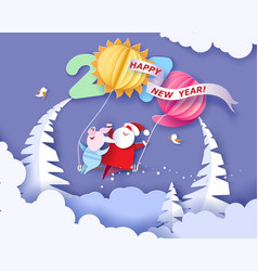 Happy new year card color paper cut design vector