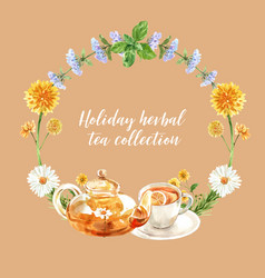 Herbal tea wreath design with melissa vector