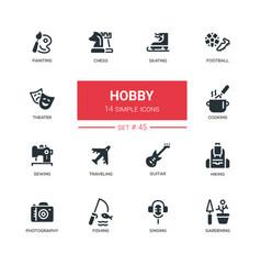 Hob- line design icons set vector