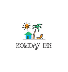 holiday inn design logo template you can use vector image