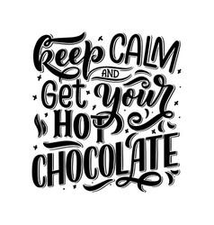 Hot chocolate hand lettering composition hand vector