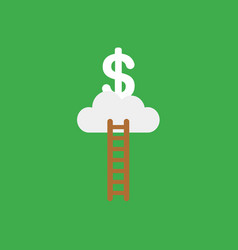 icon concept of wooden ladder cloud and dollar on vector image