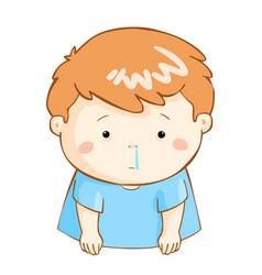 Ill boy runny nose cartoon vector