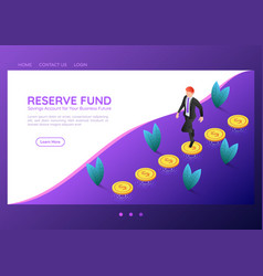 Isometric web banner businessman walking on coins vector