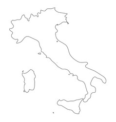 Italy - solid black outline border map of country vector