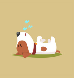 Jack russell puppy character sleeping on its back vector