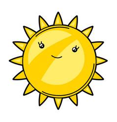 Kawaii cute sun vector