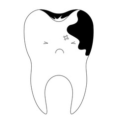 Kawaii tooth with root and caries side in black vector