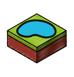 Lake terrain isometric icon vector