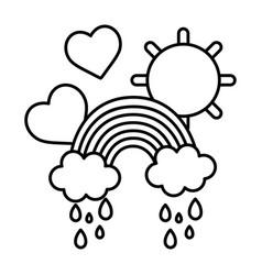 Line rainbow clouds raining with hearts and sun vector