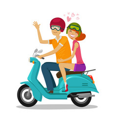 loving couple riding scooter journey travel vector image