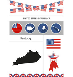 Map of kentucky set of flat design icons vector