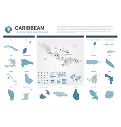 Maps set high detailed 19 maps of caribbean vector