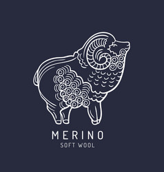 merino sheep logo label ram vector image