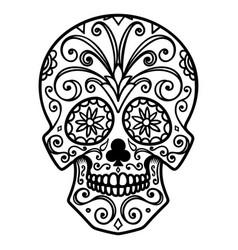mexican sugar skull day dead dia de los vector image