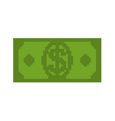 money pixel art cash is pixel dollar 8 bits vector image