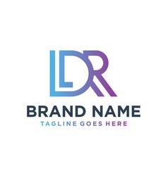 Monogram logo design with letter ldr vector