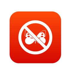 No butterfly sign icon digital red vector